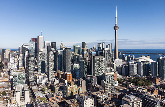 City in Canada aerial view