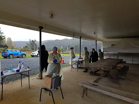 New Zealand GP clinic healthcare workers in car park