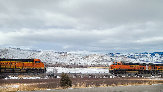 Trains in Montana in winter